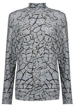 Dorothy Perkins Womens Grey Crackle Print Funnel Neck Batwing Sleeve Top, Grey