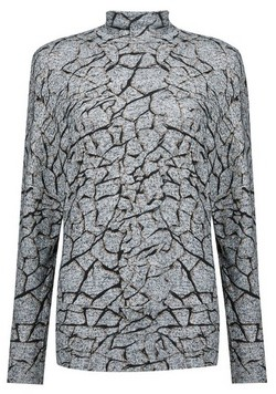 Dorothy Perkins Womens Grey Crackle Print Funnel Neck Batwing Sleeve Top, Grey