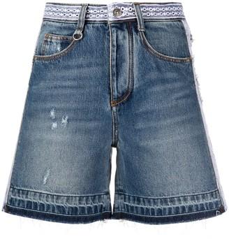 Ermanno Scervino Distressed Embroidered Denim Shorts