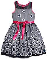 Us Angels Girls' Floral Appliqué Netted Dress - Sizes 2T-6