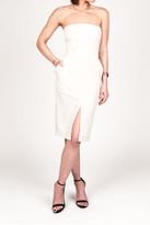 Donna Mizani Front Slit Strapless Midi Dress In Beige