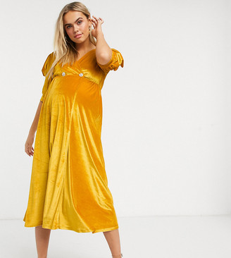 ASOS DESIGN Maternity velvet midi dress with puff sleeve and diamante button in ochre