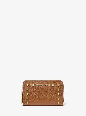 Michael Kors Small Studded Pebbled Leather Wallet