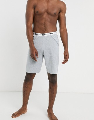 ASOS DESIGN lounge pyjama shorts in light blue marl with branded waistband