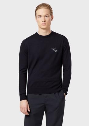 Emporio Armani Pure Virgin Wool Sweater With Emoji Patch
