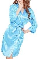 Rokou Women Sexy Satin Silk Kimono Robe Lingerie Sleepwear Nightgown with Belt