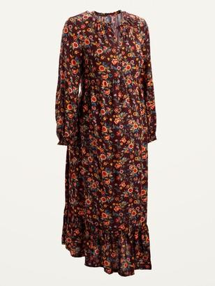 Old Navy Maternity Printed Tie-Belt Tiered-Hem Midi Dress