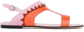 Emilio Pucci Embroidered Leather And Suede Sandals