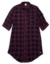 Point Zero Women's Gingham Tunic With Roll-Tab Sleeves