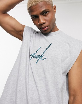 Asos Design DESIGN x Dark Future oversized sleeveless t-shirt with front and back Dark Future logo embroidery and dropped hem