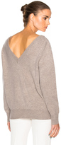 Victoria Beckham Felted Lambswool Double V Neck Jumper in Gray.