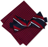 Tommy Hilfiger Men's Candy Stripe Bow Tie & Gingham Pocket Square Set
