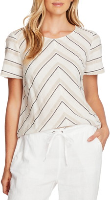 Vince Camuto Chevron Stripe Cotton & Linen Top