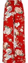 River Island Womens Red floral wide leg high waisted pants