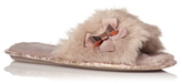 George Bow Trim Faux Fur Slippers
