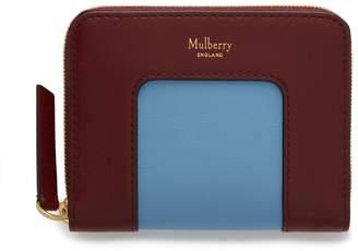 Mulberry Small Zip Around Purse Pale Slate Silky Calf Colour Block
