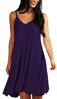 Stekima's Dresses Stekima Womens Summer Dresses Casual V Neck Plain Simple Baggy Loose Swing Dresses for Ladies Elegant Plus Size Sleeveless Swing A-Line Dress Cocktail Party Beach Summer Holiday Sun Dress Purple