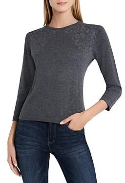 Vince Camuto Animal Stud Shoulder Sweater
