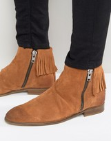 Asos Chelsea Boots With Fringing In Tan Suede