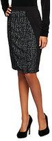 George Simonton Ponte Knit Skirt with Houndstooth Jacquard