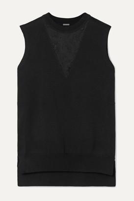 ADAM by Adam Lippes Lace-paneled Merino Wool Top - Black