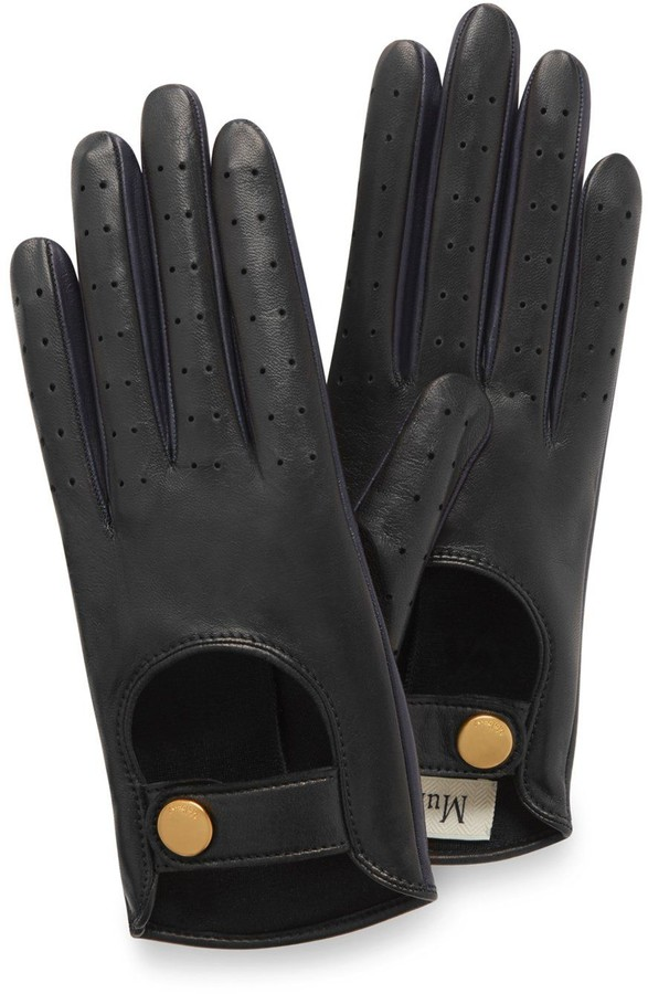 Mulberry Biker Gloves Black and Navy Smooth Nappa