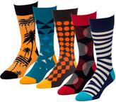 Dazed Navy 5 Pairs Men's Crew Socks