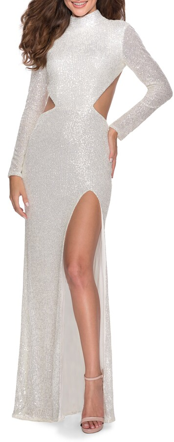 Thumbnail for your product : La Femme Sequin Long Sleeve Cutout Gown