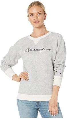 Champion Powerblend(r) Applique Boyfriend Crew Solid (Oxford Grey Heather/Oatmeal Heather) Women's Clothing