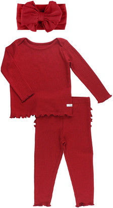 RuffleButts Girl's 2-Piece Rib Knit Pajama Set w/ Bow Headband, Size 0-4T