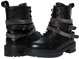 Steve Madden Captain Combat Boot (Black Leather) Women's Boots