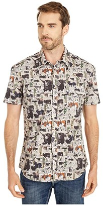 Rock and Roll Cowboy Dale Brisby Short Sleeve All Over Bull Print Snap Shirt B1S5109 (Tan) Men's Clothing