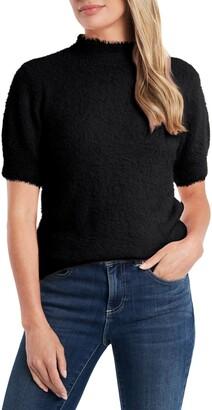 CeCe Eyelash Mock Neck Sweater