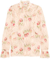 Vilshenko Rhea Ruffled Printed Cotton And Silk-blend Blouse - Baby pink
