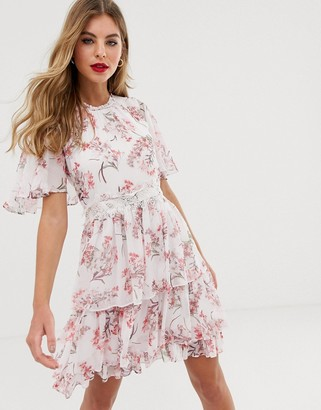 Forever New cape sleeve tiered mini skater dress in floral print