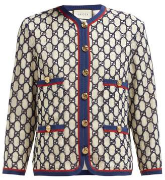 Gucci Gg Embroidered Cotton Blend Mesh Jacket - Womens - White Multi