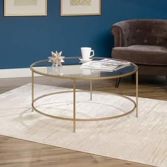 Sauder International Luxury Coffee Table Satin Gold/Clear Glass Finish