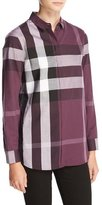 Burberry Check-Print Long-Sleeve Shirt, Dark Violet