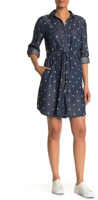 Velvet Heart Anita Polkadot Print Tie Waist Chambray Shirtdress