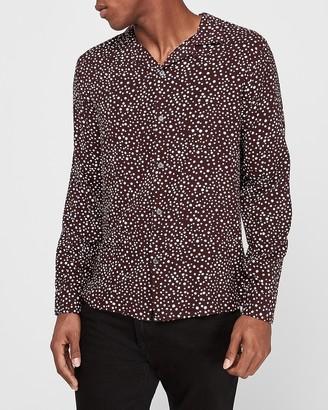 Express Slim Polka Dot Print Rayon Shirt