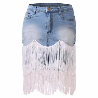 N /A Women's Denim Midi Skirt Casual Washed Pocket Fringed Tassel Short Denim Jeans Skirt (Light Blue XL)