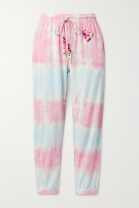LoveShackFancy Santinella Bead-embellished Appliqued Tie-dyed Cotton-terry Track Pants - Pink