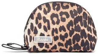 Ganni Leopard-print Nylon Make-up Bag - Womens - Leopard