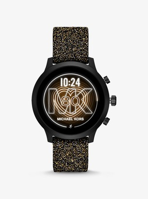 Michael Kors MKGO Black-Tone Embellished Silicone Smartwatch