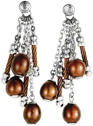 Charriol Stainless Steel Pearl Earrings