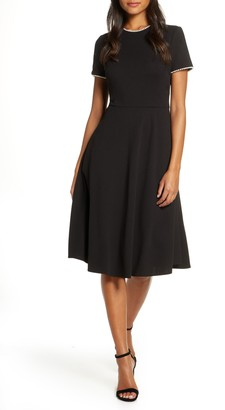 Gal Meets Glam Victoria Pearly Trim Fit & Flare Cocktail Dress