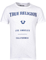 True Religion White Crew Neck Puffy Print Short Sleeve T-shirt