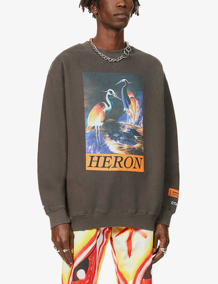 Heron Preston Heron-print relaxed-fit cotton-jersey sweatshirt