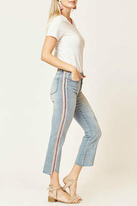 Velvet Heart Vintage Rose Stripe Cropped Jean