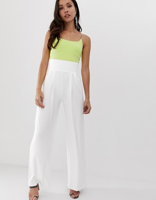 Asos Design DESIGN wide leg trousers with deep waistband-White